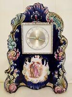 Vintage Porcelain Victorian Mantel Shelf Clock Blue Made In Germany Landau