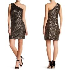 Romeo & Juliet Couture Sequin Dress Womens Size Medium Gold One Shoulder
