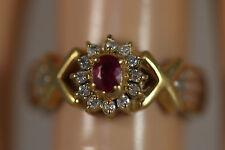 PLATINUM PT900 18K YELLOW GOLD .42CTW RED RUBY DIAMOND HALO RING 18KT SZ 7 4.04G