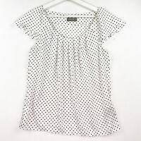 Jacqui E Women's Size 12 White Black Polka Dot Cap Sleeve Scoop Neck Blouse Top