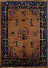 Antique Golden Brown Art Deco Nichols Chinese Area Rug Hand-Knotted Floral 8x10