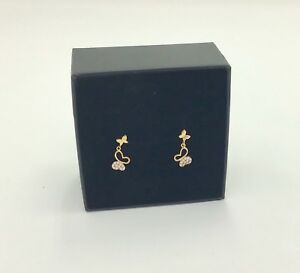 9CT Gold Cubic Zirconia Butterfly Delicate Drop Earrings, Boxed RRP £39.99