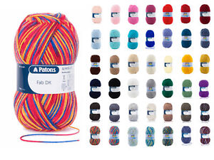 Patons FAB DK Double Knit Wool 100g - Knitting Yarn - All Colours