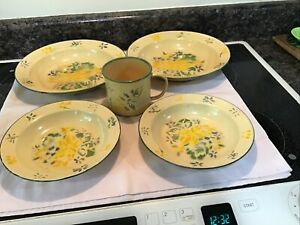 Vintage April Cornell enamel 2 Serving & 2 cereal W/ Mug  yellow blue floral
