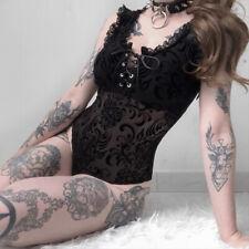 Women Gothic Punk Sleeveless Ruffle Lace Square Neck Sheer Mesh Bandage Bodysuit