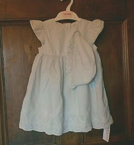 *Marks & Spencer* Baby Girls Soft Cotton LINED DRESS & HAT 18-24 Months BNWT