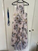 TED Baker DANIIEY Woodland pleated maxi dress £239 Uk8 Pale Pink