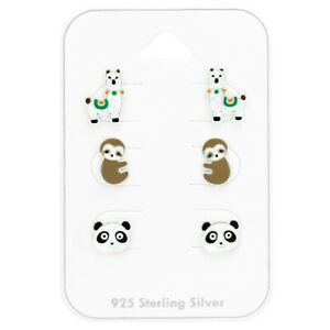 925 Sterling Silver Llama, Sloth And Panda Stud Earrings