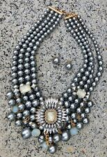 "New Fashion 18"" NECKLACE & Earrings Gray Chunky Rhinestone Statement 4 Strand"