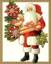 NIB 16 Caspari Santa Small Christmas Cards with Envelopes Switzerland