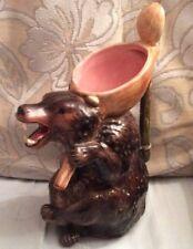 Antique 1880's Majolica Honey Bear Pitcher-Spoon Handle Rare Pink Inside 11'