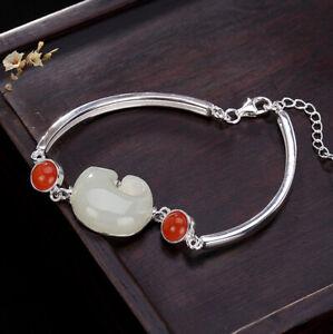 I02 Bracelet Avec Éléphant En Blanche Jade Argent 925 Rouge Agate