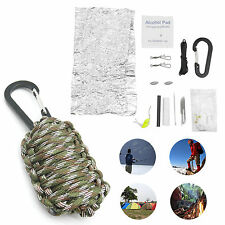 Outdoor Survival Emergency Camping Hiking Fishing Paracord Tools Kit Camouflage