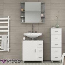 VICCO Badmöbel Set ILIAS Weiß / Beton - Badspiegel Unterschrank Beistellschrank