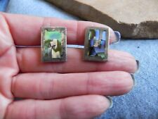 Cufflinks Taxco Mexico signed Tlr Abalone & Sterling Silver .925 Inlay