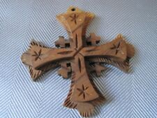 WOOD CRUCIFIX Middle Eastern Style Stars & Tiny Crosses Layered PENDANT Unique