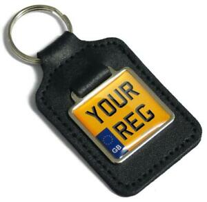 Personalised Private Reg Motorcycle Number Plate Leather Keyring