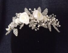 ROSE FLOWER CRYSTAL PEARL BRIDAL HEADPIECE, HAIR COMB, SILVER, BRAND NEW, Aust