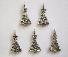 10 Metal Antique Silver Colour Christmas Tree Charms/Pendants - 20mm