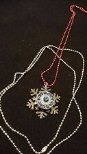 Christmas Silver Snowflake Snap Pendant, Blue Cluster Snap & 2 Chains-Red/Silver