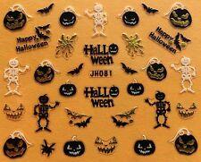 Nail Art 3D Decal Stickers Happy Halloween Skeleton Pumpkin Bat JH081