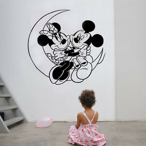 Mickey Minnie Mouse Moon Kids Disney Wall Stickers Art room Removable Decals DIY