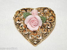 3D Gold Plated Metal Heart With Porcelain Pink Flower Brooch / Pin Gift