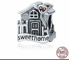 🏡 ELEGANT HOME SWEET CHARM NEW STERLING SILVER 925 CHARM BEAD PENDANT GIFT CZ