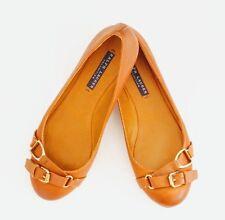 RALPH LAUREN PURPLE COLLECTION Gold Buckle Ballet Flats Shoes Lthr Beige Sz  6.5 adaf044ed3