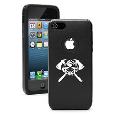 For iPhone 5 5S 5c 6 6s Plus Aluminum Silicone Hard Case Cover Firefighter Skull