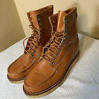 Vintage 70s Boots Hobo Chic Mens Bikers Texas Steel Lace Up Cognac Brown 9.5E