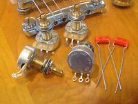 4X CTS TAOT CUSTOM 525K POTS - LONG Shaft Audio Taper + .022 Orange Drops -500K