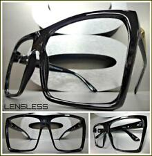 Oversized Exaggerated Large Square Black Lensless Eye Glasses Frame Only NO Lens