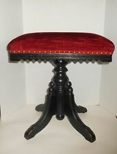 Antique Victorian Piano Stool Organ Red Velvet Seat Wood Saw Tooth Trim