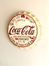 Coca Cola Rustic Vintage Wall Sign Tin Metal 30cm Bottle Top Bar Pub Man Cave