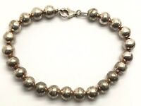 Italy Vintage Oxidized Sterling Silver Sphere Ball Beaded Chain Tennis Bracelet
