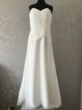 BEAUTIFUL DUCHESS SATIN AND CHIFFON BRIDAL GOWN WEDDING DRESS SIZE 18 IVORY NEW