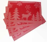 Set of 4 Large Christmas Placemats Dinning Room Jacquard Table Mat RED REINDEER