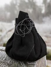 New LARP medieval money pouch black round bag, suede (refP2bte203)