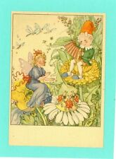 Fairies + Gnomes/Fantasy Vintage Postcard