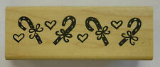 Rubber Stamp Candy Cane Love Hearts - wood mounted DF