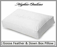 Luxury Goose Feather & Down Box Pillow, Non Allergenic Anti Dust Mite Pillow