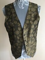 Womens Waistcoat Size 12 Brown Bronze Gold Floral Open Front Button Detail