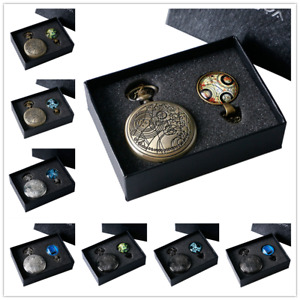 Vintage Doctor Who Time Lord Seal Pretty Necklace Chain Pocket Watches Gift Set