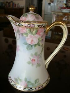 """ANTIQUE NIPPON HAND PAINTED ROSES & GOLD CHOCOLATE / TEA POT, 9"""""""