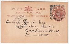 CGH: QV One Halfpenny Postal Card; Uitenhage to Grahamstown, 25-26 October 1895