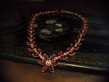 Vintage Navette Marquise Ruby Red & Light Amethyst  Crystal  Flower Necklace