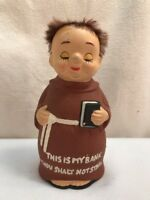Vtg 1950-60's Ceramic Japan Religious Monk THOU SHALT NOT STEAL Novelty Bank
