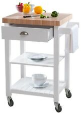 Kitchen Cart/Service Trolley w/ 2 in. Butcher Block Top, 2 Shelves and 1 Drawer