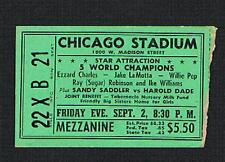 RARE 1949 Ezzard Charles Jake LaMotta Sugar Ray Robinson Saddler  boxing ticket